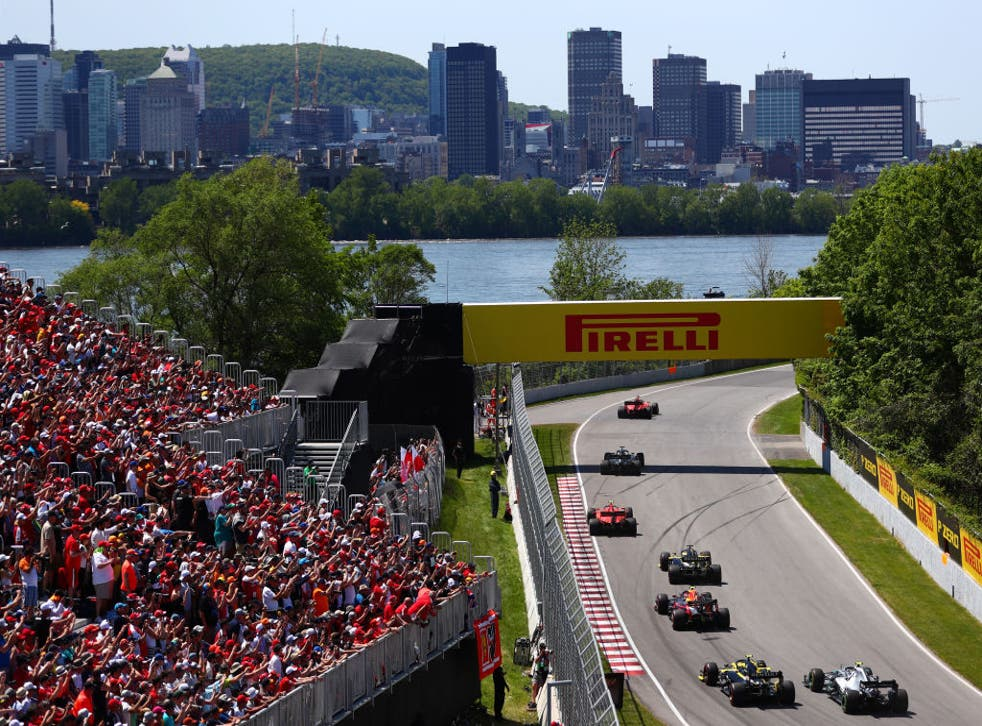 <p>Vettel took the chequered flag in Canada in 2019, but Hamilton won due to a penalty</p>