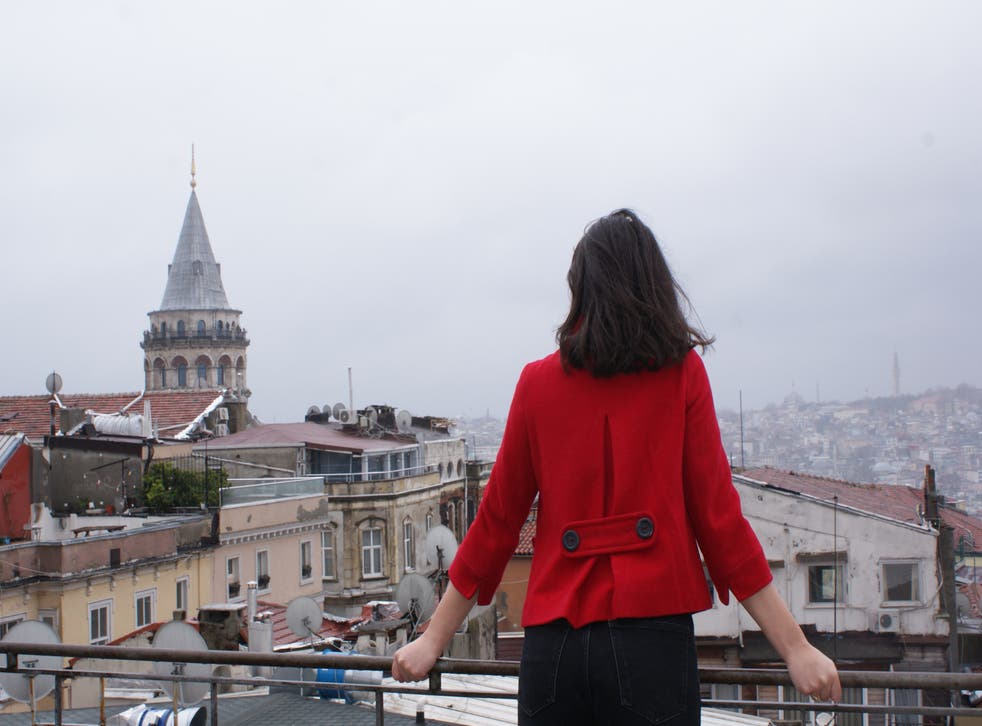 <p>Many migrants, including Rana, not her real name, pictured in Istanbul in Turkey, were left in limbo when Covid caused world borders to snap shut</p>