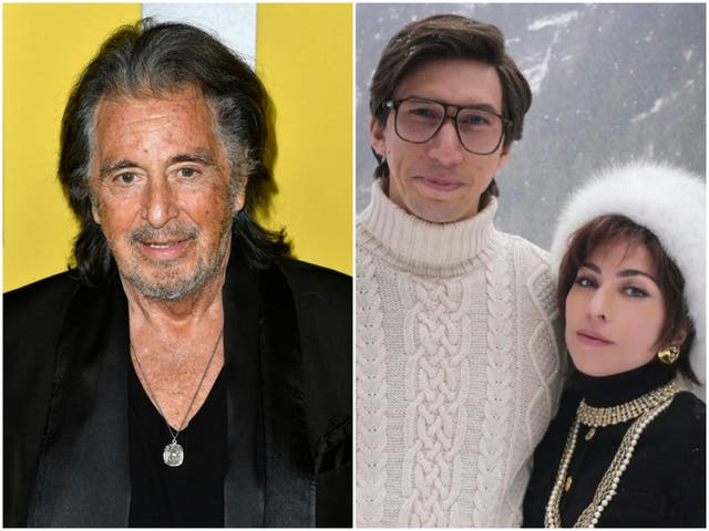Al Pacino in 2020, and Adam Driver and Lady Gaga in House of Gucci