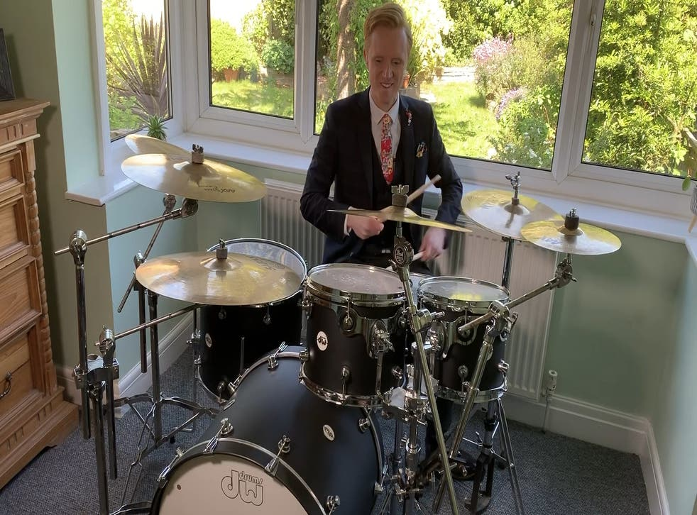 Owain Wyn Evans on the drums