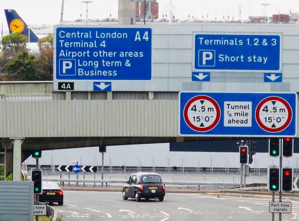 On approach: Heathrow airport central area