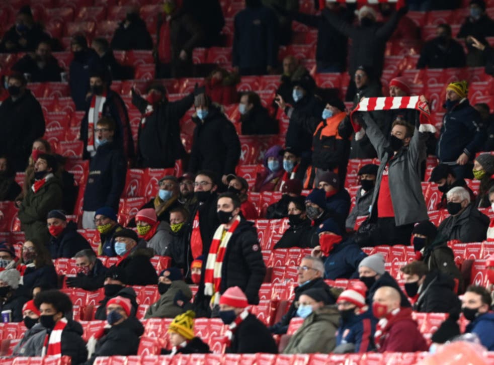 Arsenal supporters at the Emirates Stadium