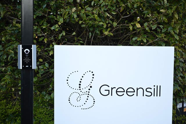 <p>Signage is seen outside the offices of collapsed finance firm Greensill near Warrington, northwest England</p>