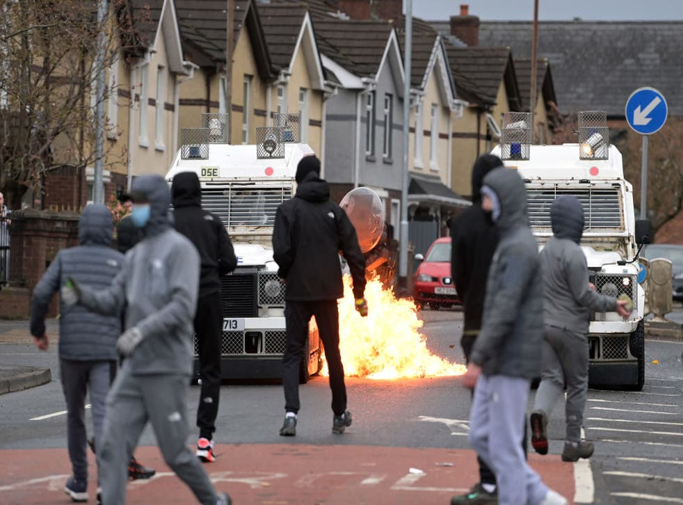 <p>Petrol bombs have been thrown and buses set alight in Belfast in recent days</p>