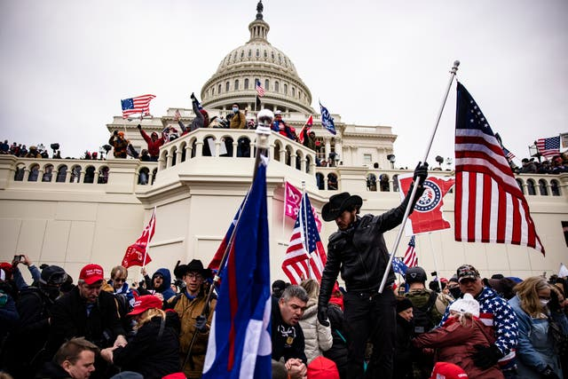 <p>Pro-Trump supporters storm the U.S. Capitol following a rally with President Donald Trump on January 6, 2021 in Washington, DC</p>