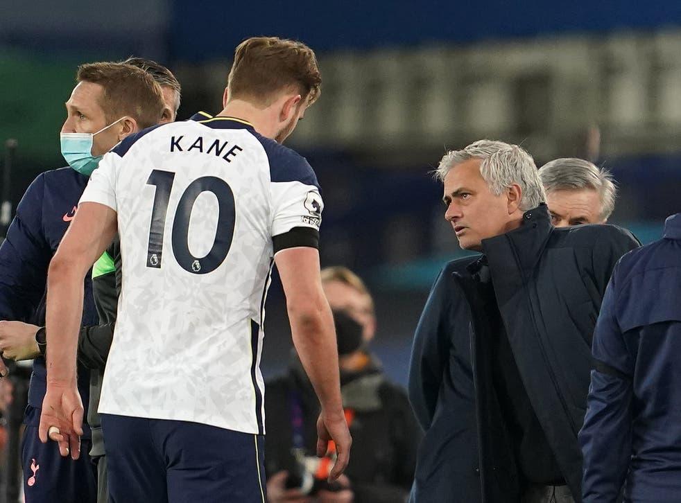 Jose Mourinho shows concern for an injured Harry Kane