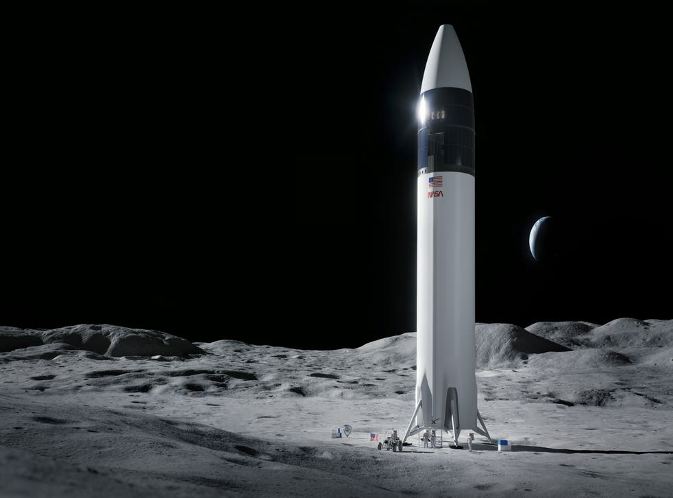 Illustration of SpaceX Starship human lander design that will carry the first NASA astronauts to the surface of the Moon under the Artemis program