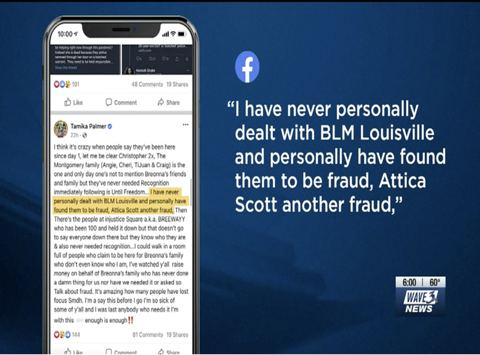 <p>A screenshot captured by WAVE 3 News shows a since-removed Facebook post by Tamika Palmer, the mother of Breonna Taylor</p>