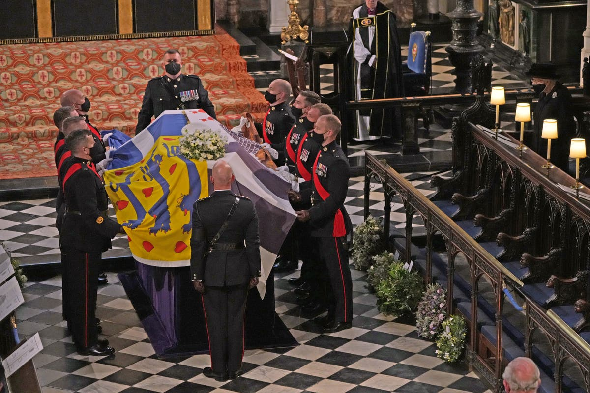 Prince Philip funeral: Duke's coffin lowered into royal vault by electric motor