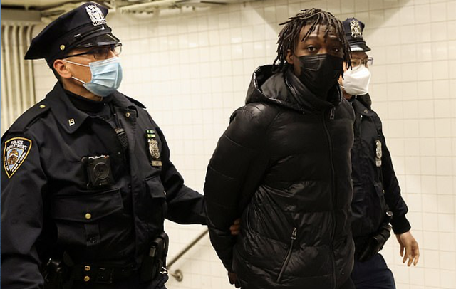 <p>Saadiq Teague, 18, was charged with several counts after he pulled out an AK-47 on the platform at New York's Time Square subway station on Friday</p>