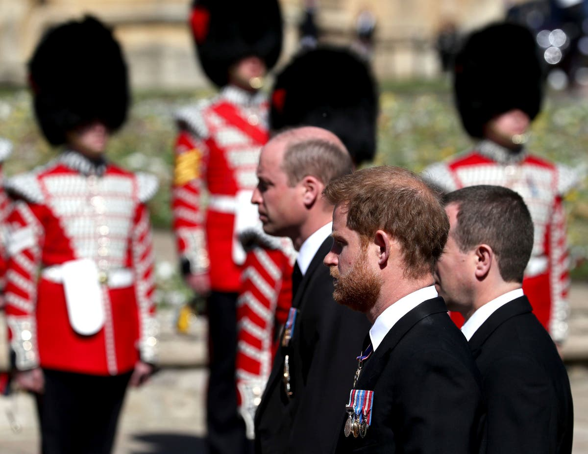 Harry, William seen chatting together after royal funeral Meghan Zara Tindall Diana Prince Charles Peter Phillips