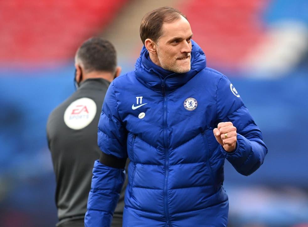 <p>Thomas Tuchel celebrates Chelsea's victory</p>