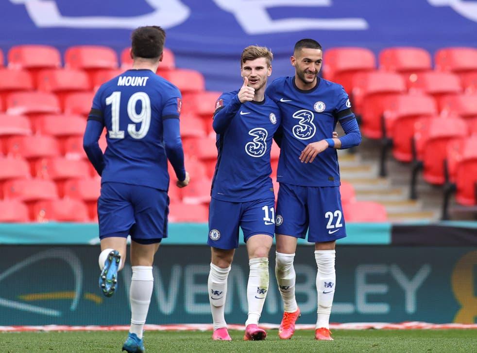 <p>Chelsea celebrate Hakim Ziyech's goal</p>