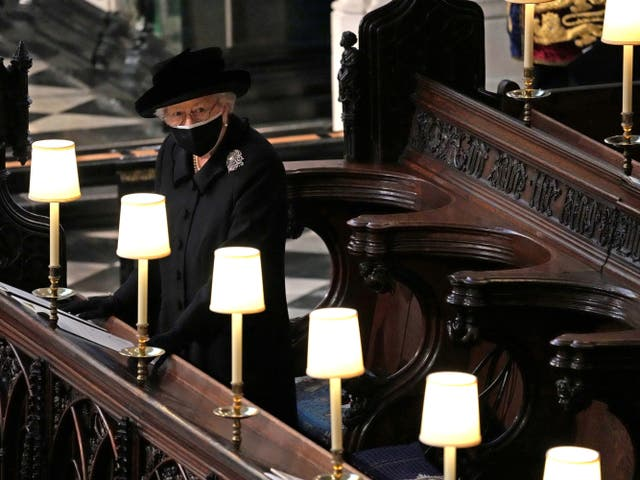 Queen Elizabeth is seen during the funeral of Prince Philip, her husband, who died at the age of 99 earlier this month