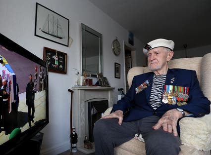 Malcolm Clerc, 94, watches the funeral of the Duke of Edinburgh
