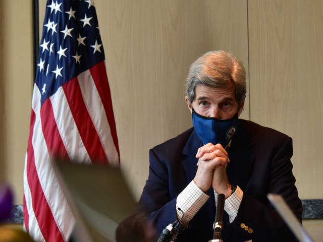 US Special Presidential Envoy for Climate John Kerry speaks during a press conference on 18 April, 2021 in Seoul, South Korea. Mr Kerry offered an apology for former President Donald Trump's 'renegade' stance on climate change.