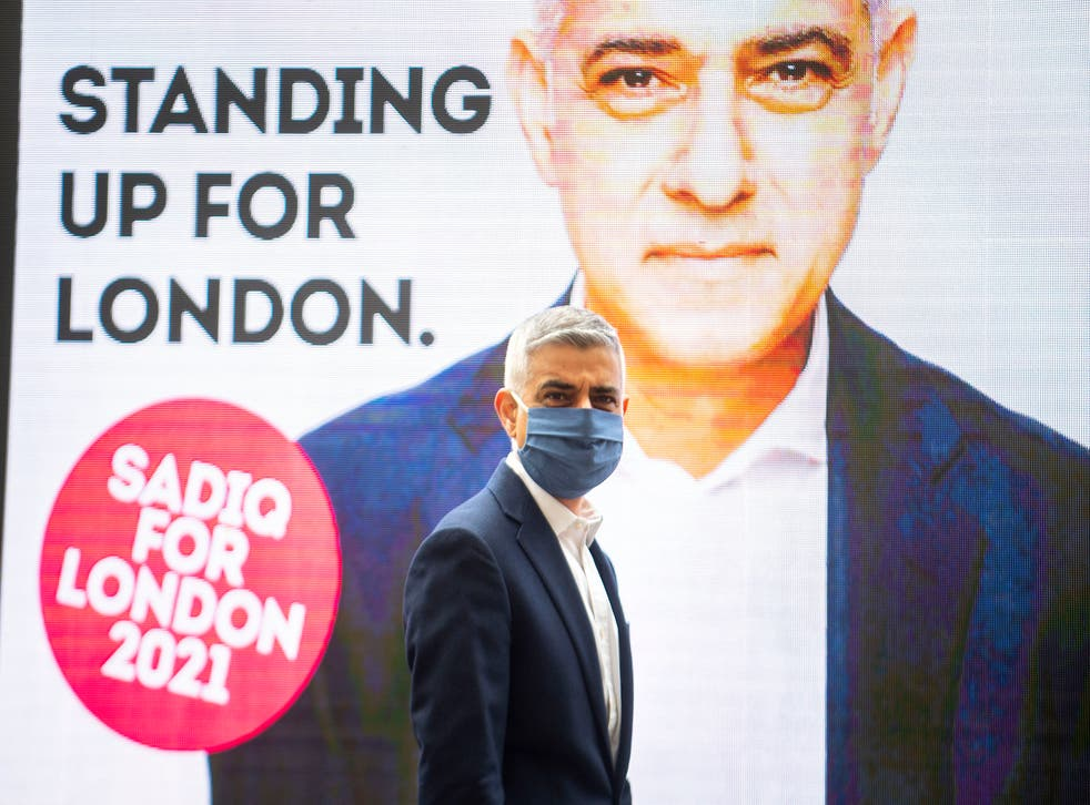 Sadiq Khan unveiling a new campaign advert while out on the campaign trail on Thursday