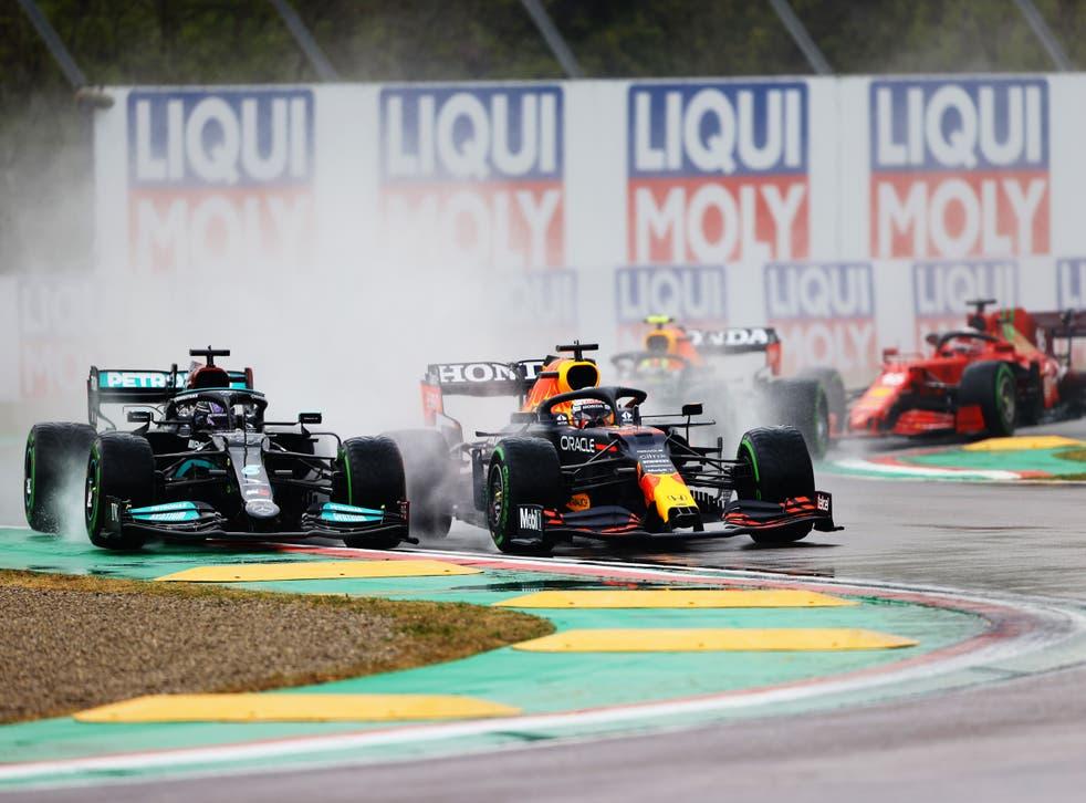 Max Verstappen ovetakes Lewis Hamilton at Imola