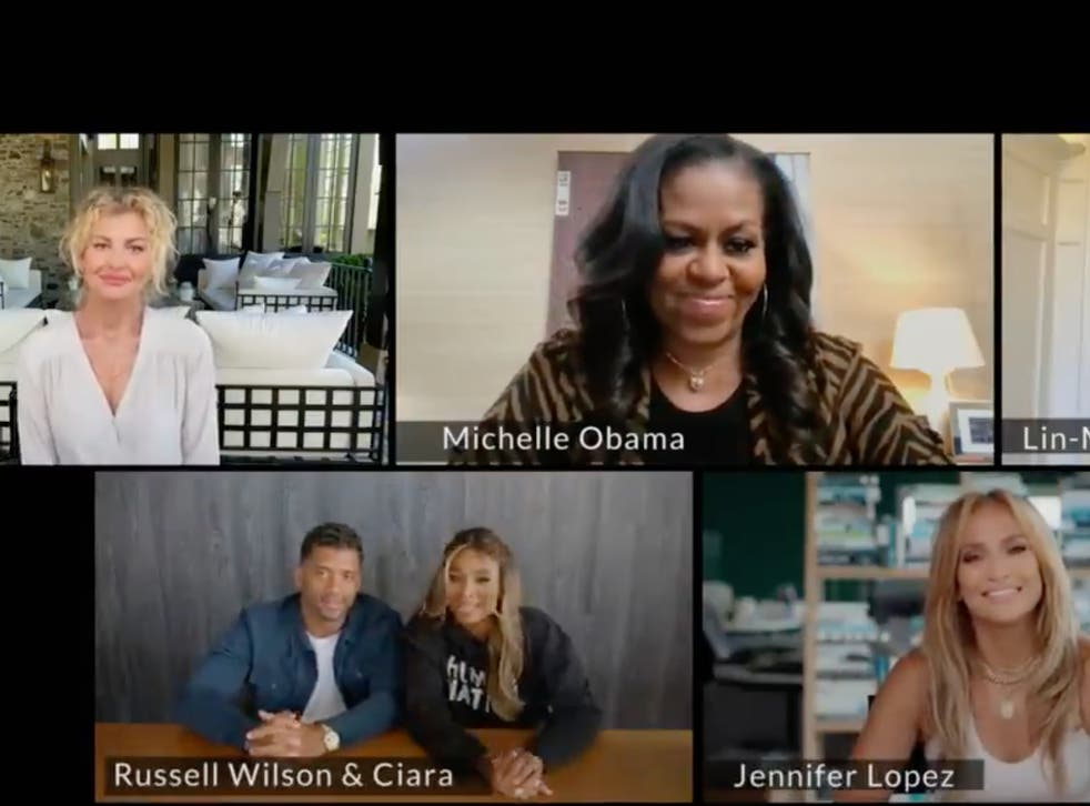 <p>Michelle Obama urges Lin-Manuel Miranda, Jennifer Lopez, Faith Hill, and more to 'help spread the word' about Covid vaccines</p>
