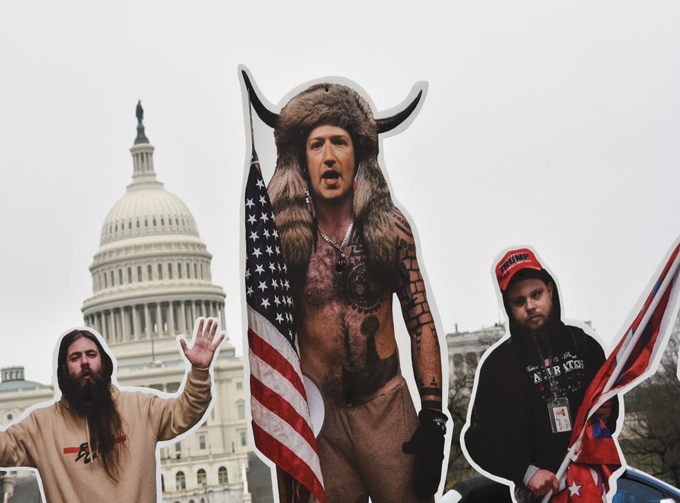 <p>File image: An effigy of Facebook CEO, Mark Zuckerberg (C), dressed as a 6 January, 2021, insurrectionist is placed near the US Capitol in Washington, DC, on25  March, 2021. Protester set up effigies of Big Tech CEO's as the US Congress holds hearings March 25 about the spread of disinformation and misinformation on their platforms</p>