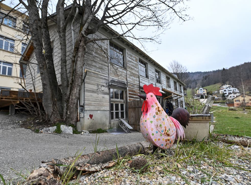 <p>A wooden house a closed down factory in Sainte-Croix, Switzerland, where Mia Montemaggi was found with her mother</p>