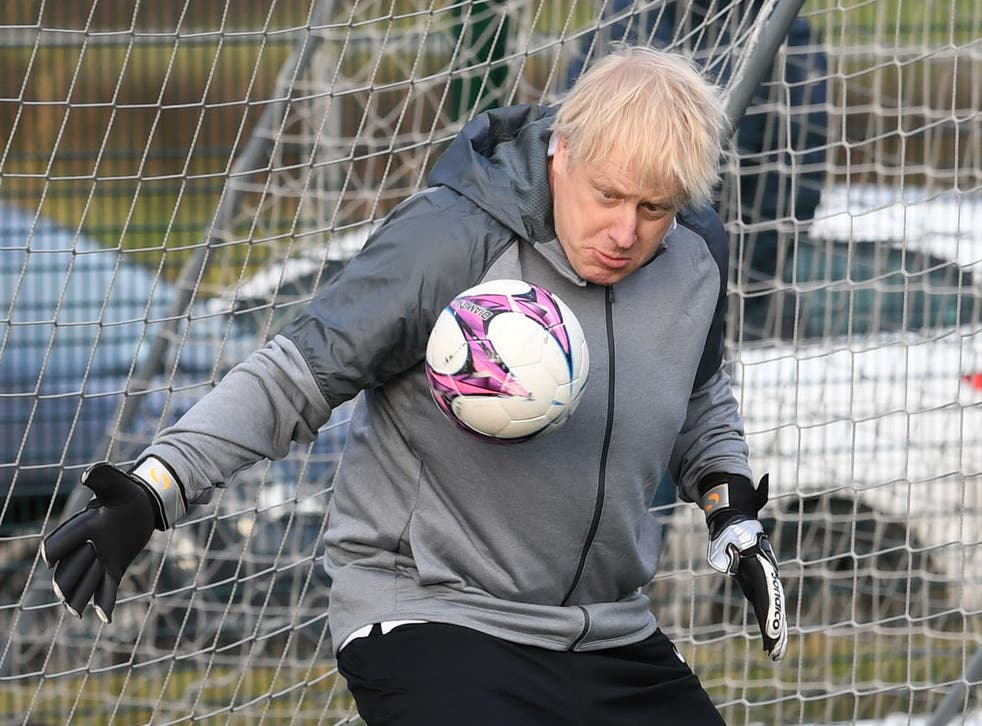 Boris Johnson attempting to save a shot on goal during the 2019 election campaign
