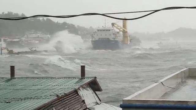 <p>Waves crash the shore as Super Typhoon Surigae moves close to the Philippines in the province of Catbalogan, Samar, Philippines April 18, 2021, in this screen grab obtained from a social media video. </p>