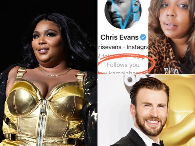 Lizzo got a follow back from Chris Evans