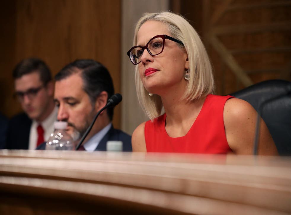 <p>Sen. Kyrsten Sinema questions witnesses during a hearing in the Dirksen Senate Office Building on Capitol Hill on May 14, 2019 in Washington, DC.</p>