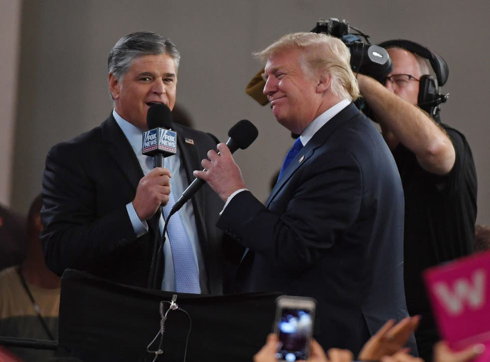 <p>Mr Hannity and Mr Trump have been friends for years, and now own houses within a six-minute drive of each other</p>