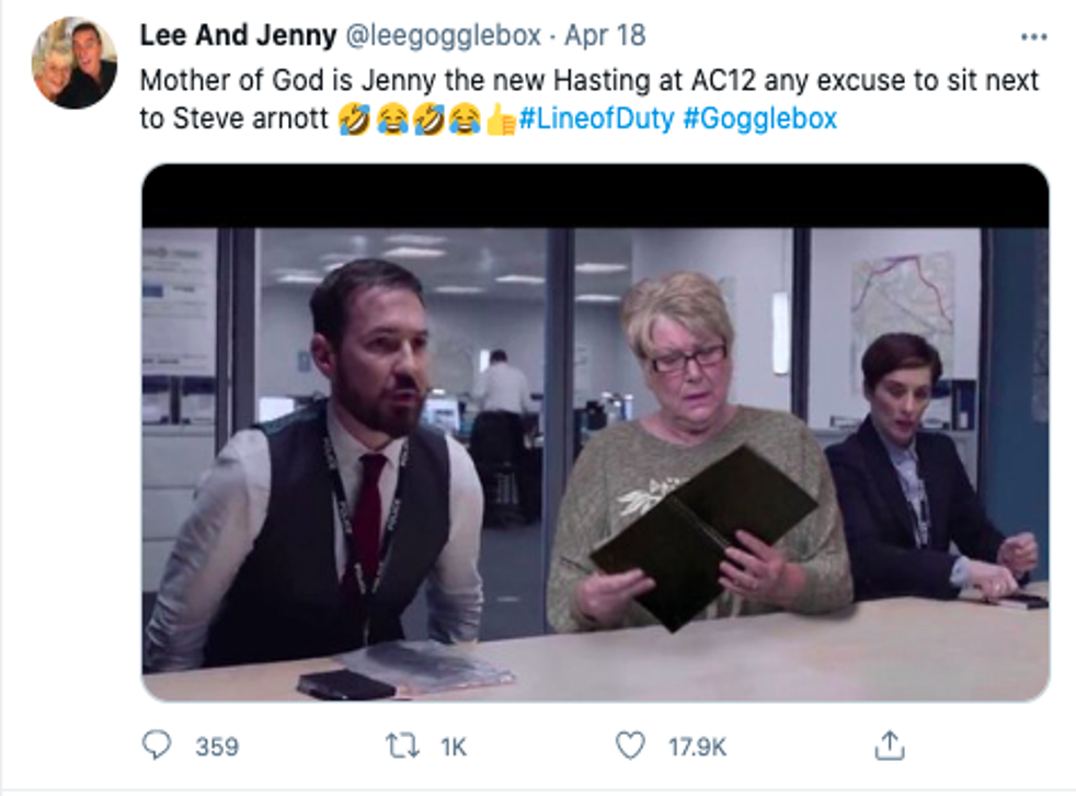 Gogglebox star Jenny Newby 'joins' AC-12 in hilarious Line of Duty photo | The Independent
