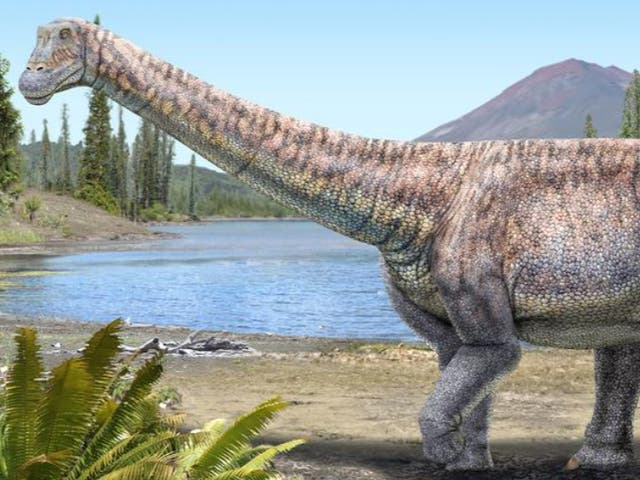 An artist's impression of the plant-eating dinosaur whose remains scientists have discovered in the Atacama desert in Chile