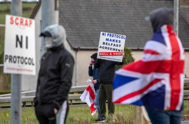 <p>Pro-Union loyalists demonstrate against the Northern Ireland Protocol</p>