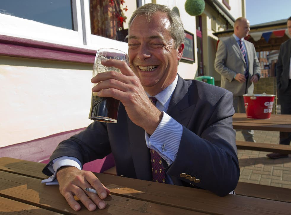 Farage pictured outside a Margate in 2015