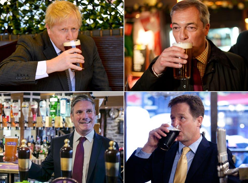 <p>A glass apart: politicians enjoy a pint</p>