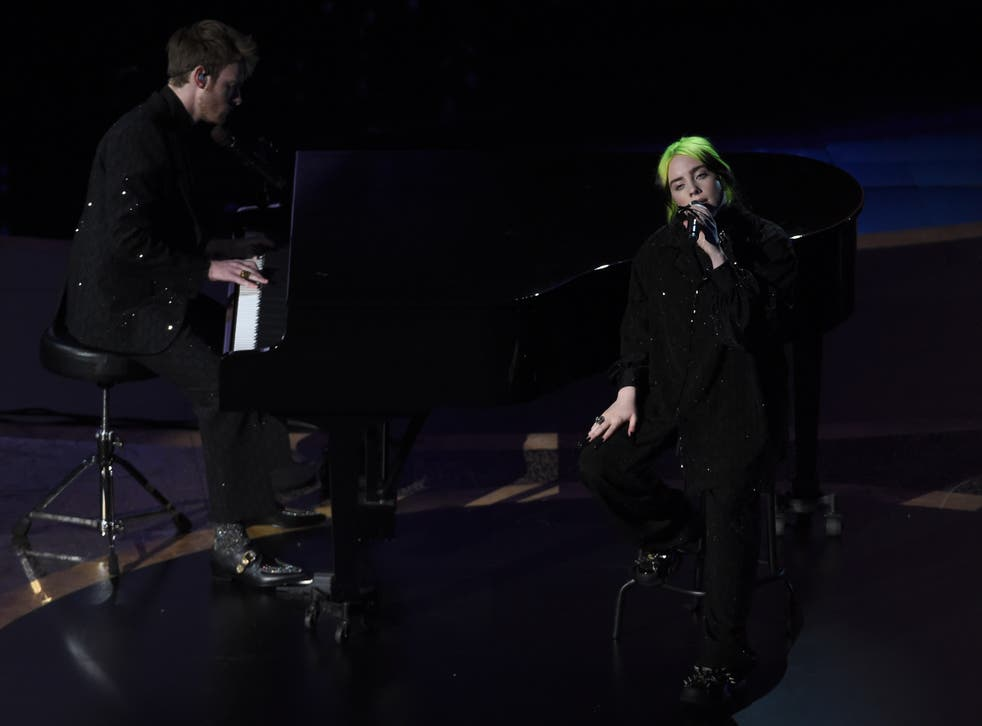 Billie Eilish and Finneas O'Connell perform during the memoriam tribute at the Oscars on 9 February 2020 in Los Angeles, California