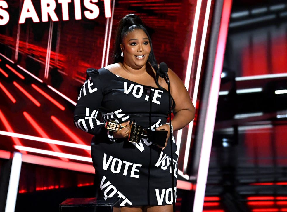 Lizzo on stage at the 2020 Billboard Music Awards