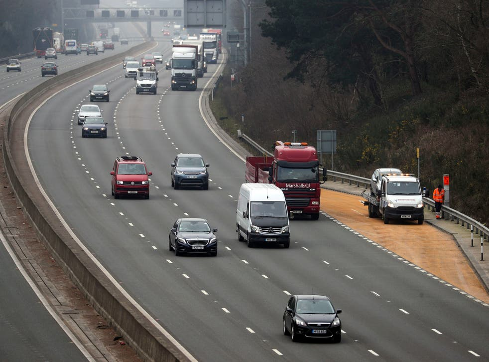 The M3 smart motorway near Camberley in Surrey