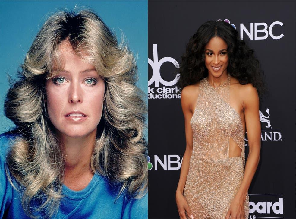 Composite of Farrah Fawcett (L) and Ciara (R)