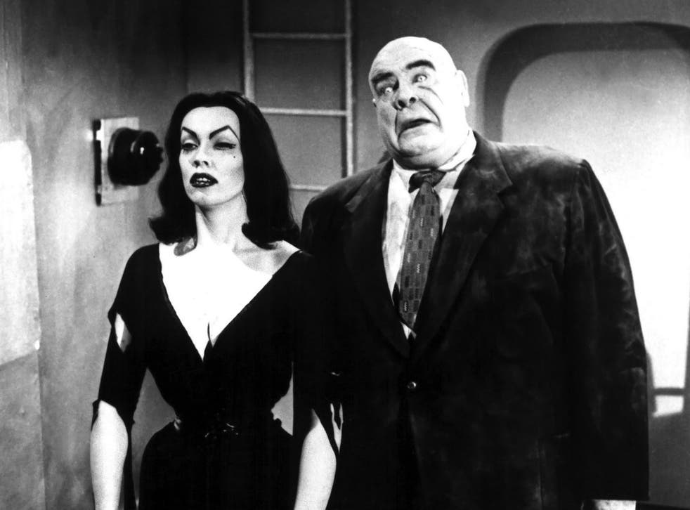 <p>The 1950s horror star Maila Nurmi (better known as Vampiria) and Swedish wrestler Tor Johnson in Ed Wood's 'Plan 9 from Outer Space' </p>