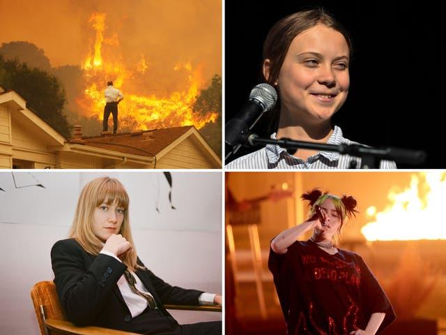 Arriba a la izquierda en el sentido de las agujas del reloj: incendios forestales en California, Greta Thunberg, Billie Eilish y la estación meteorológica