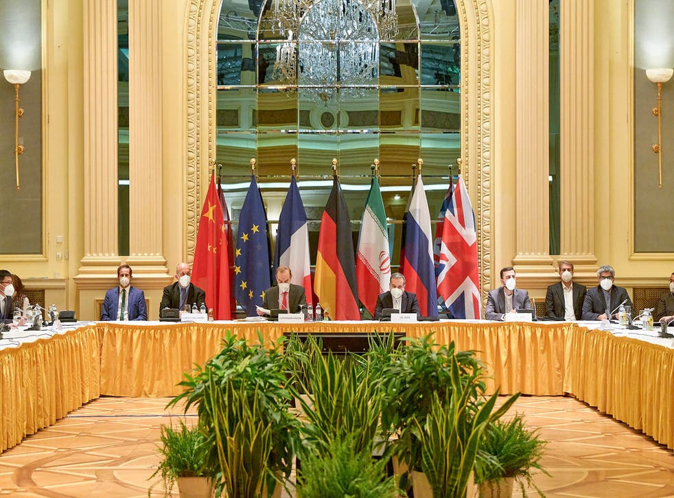 <p>Delegates from the parties to the Iran nuclear deal – Germany, France, Britain, China, Russia and Iran  –attend a meeting at the Grand Hotel of Vienna</p>