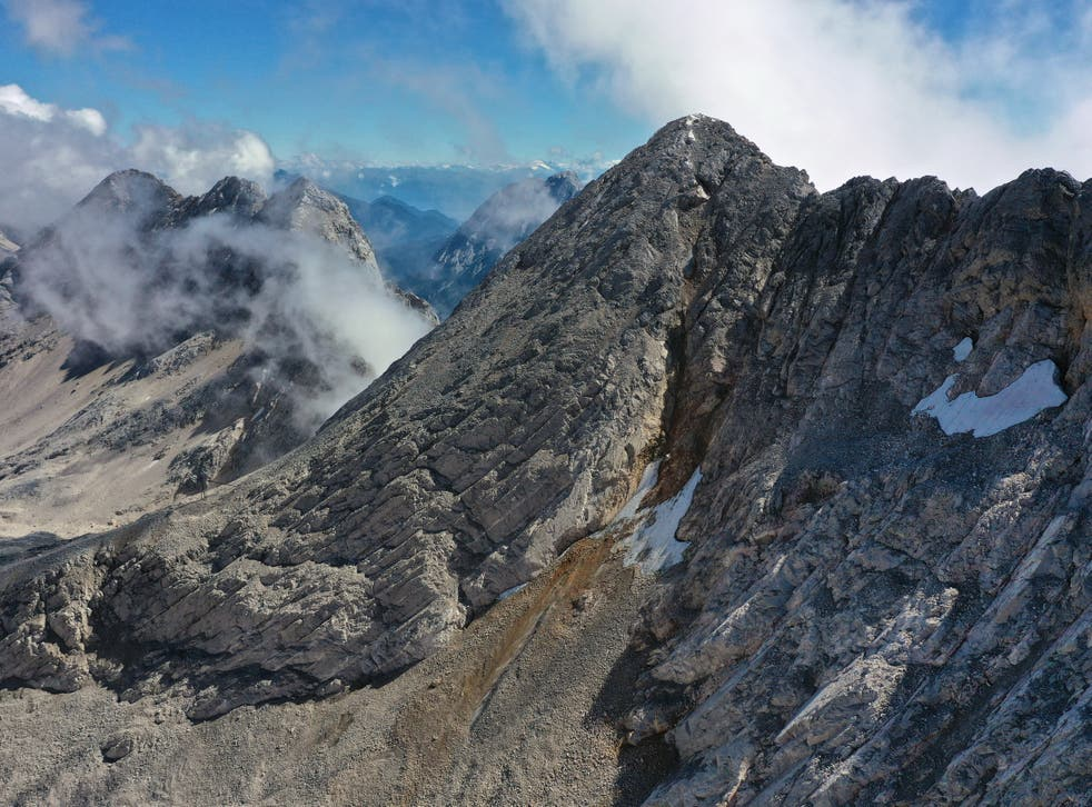 The southern face of the disappearing Schneeferner glacier near Garmisch-Partenkirchen, Germany