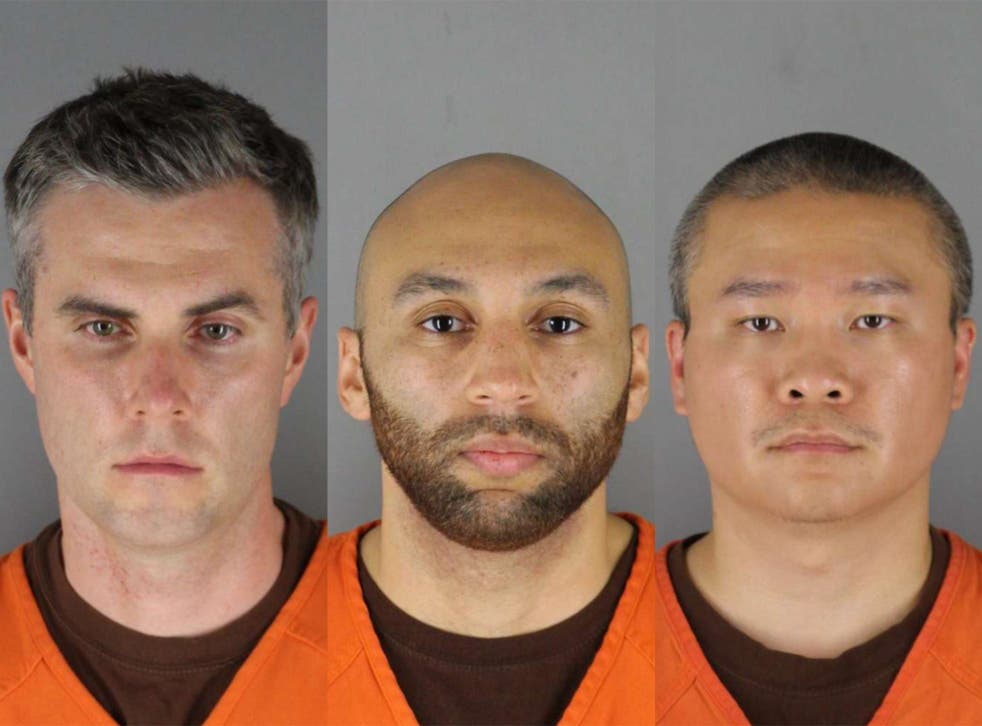 <p>Former Minneapolis police officers (from left) Thomas Lane, J Alexander Keung and Tou Thao will face trial in August for their role in aiding and abetting Derek Chauvin in the murder of George Floyd</p>