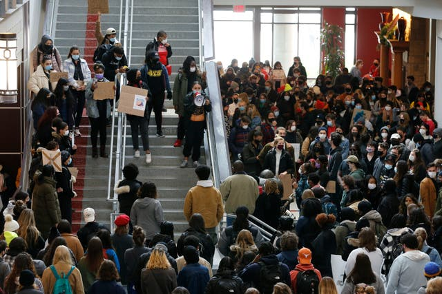 <p>Students gather at the Ohio Union on the campus of Ohio State University to protest yesterday's shooting of Ma'Khia Bryant by Columbus Police Wednesday, April 21, 2021, in Columbus, Ohio</p>