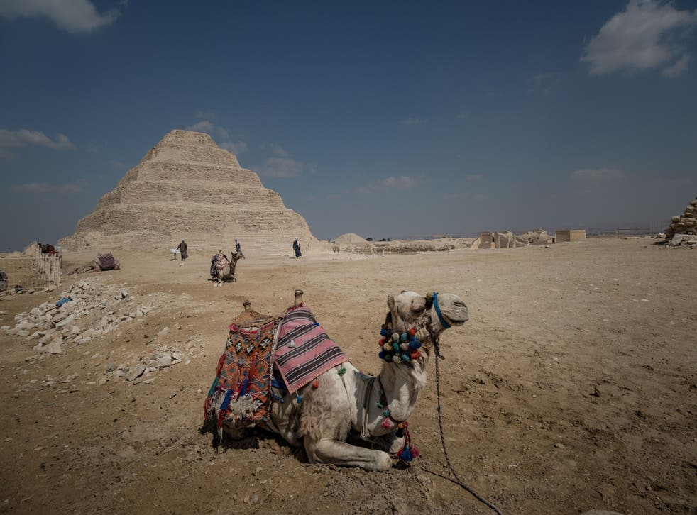 <p>A tourists' camel rests in front of the Step Pyramid of Djoser</p>
