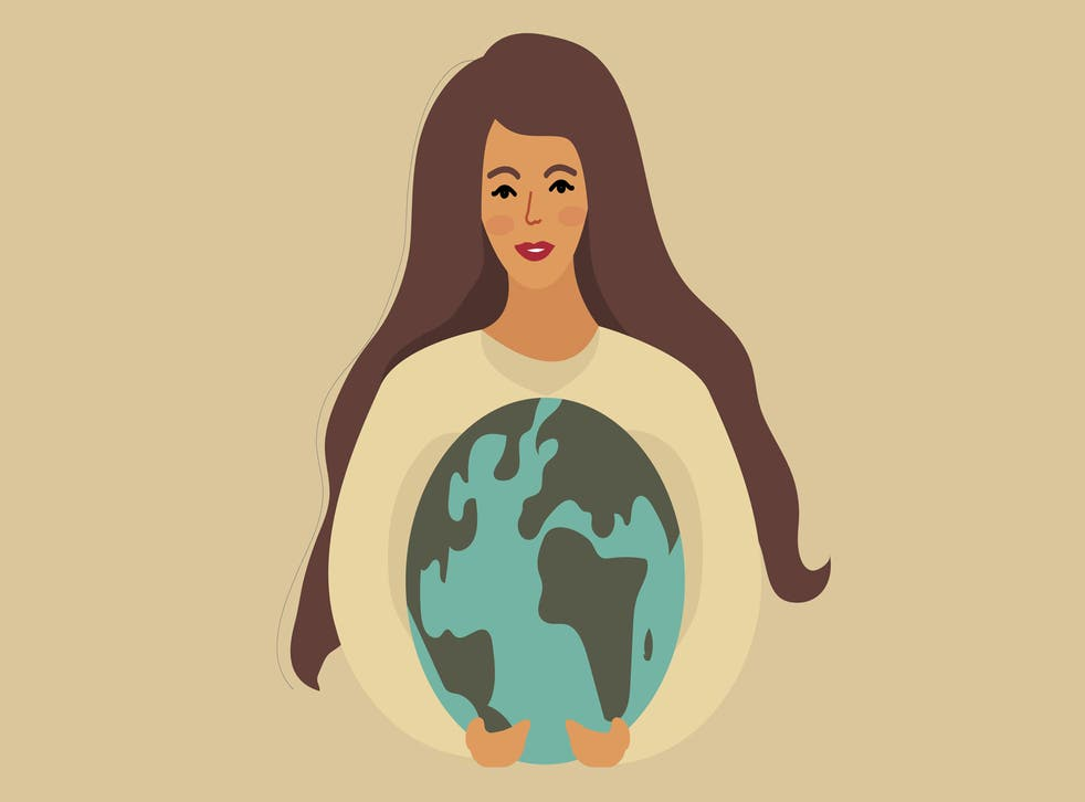 illustration of woman holding planet