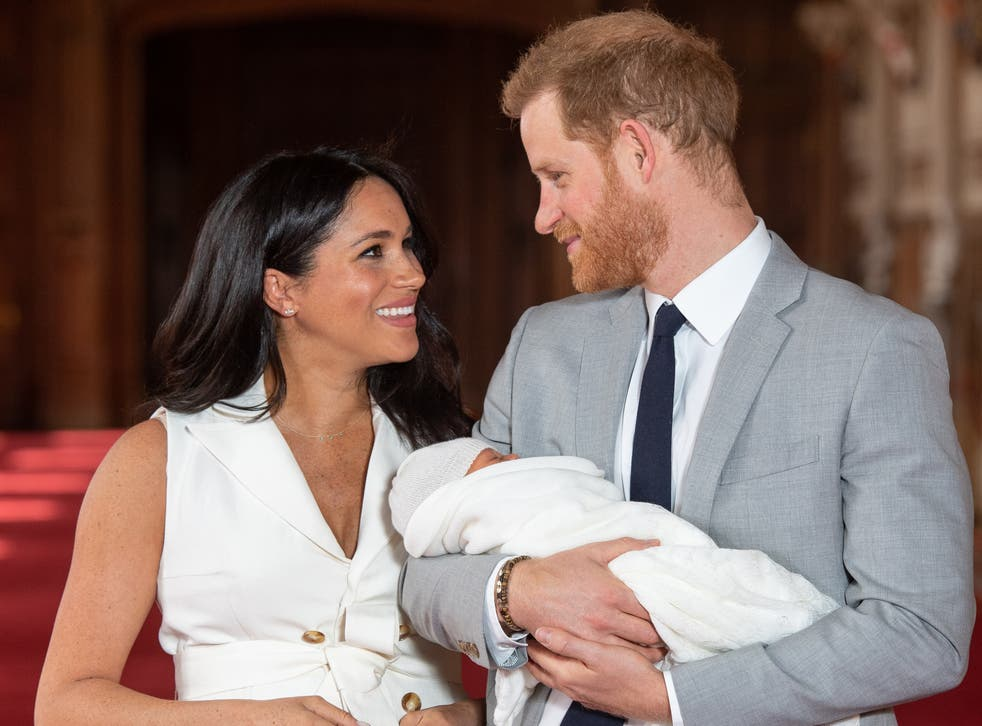 The Duke and Duchess of Sussex pose with their first child, Archie, in May 2019
