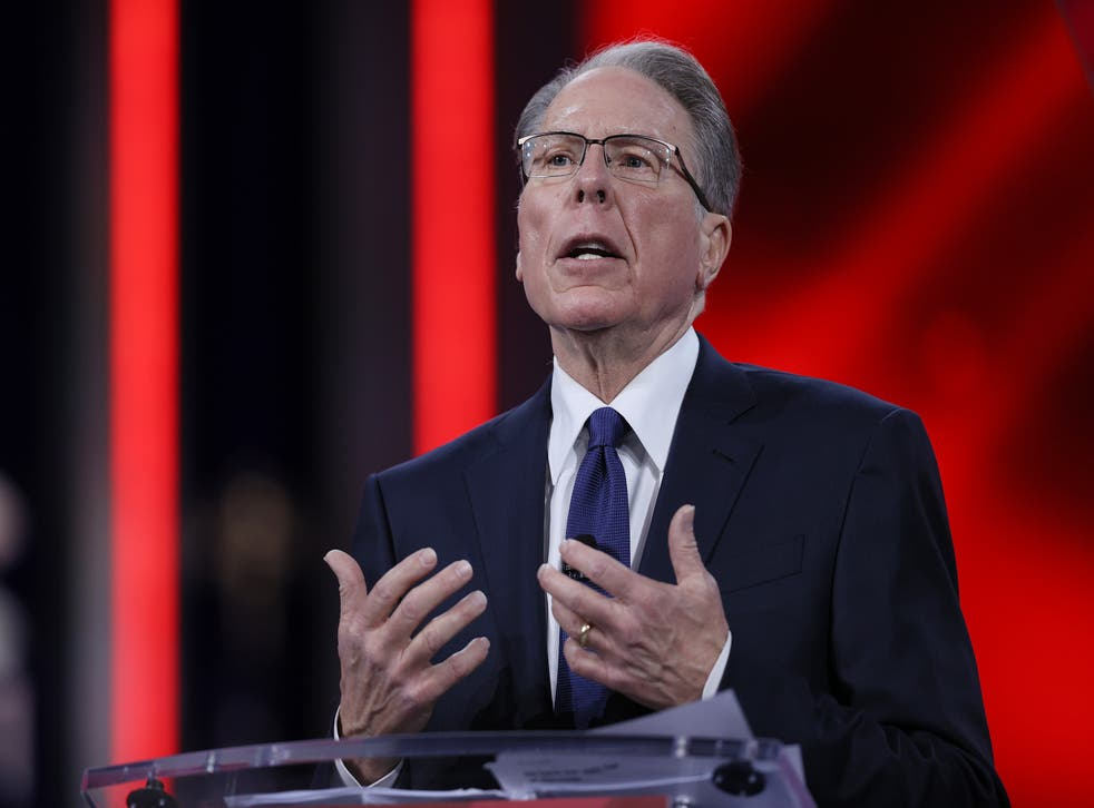 <p>Wayne LaPierre, of the National Rifle Association, addresses the Conservative Political Action Conference held in the Hyatt Regency on February 28, 2021 in Orlando, Florida.</p>