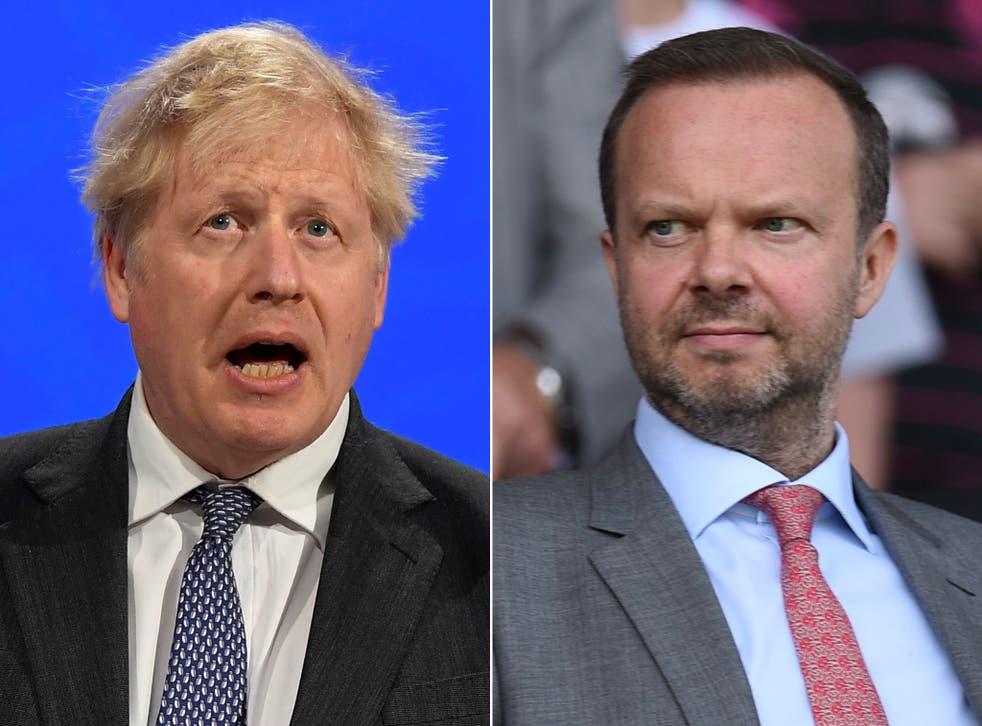 <p>Boris Johnson and Ed Woodward met at Downing Street</p>